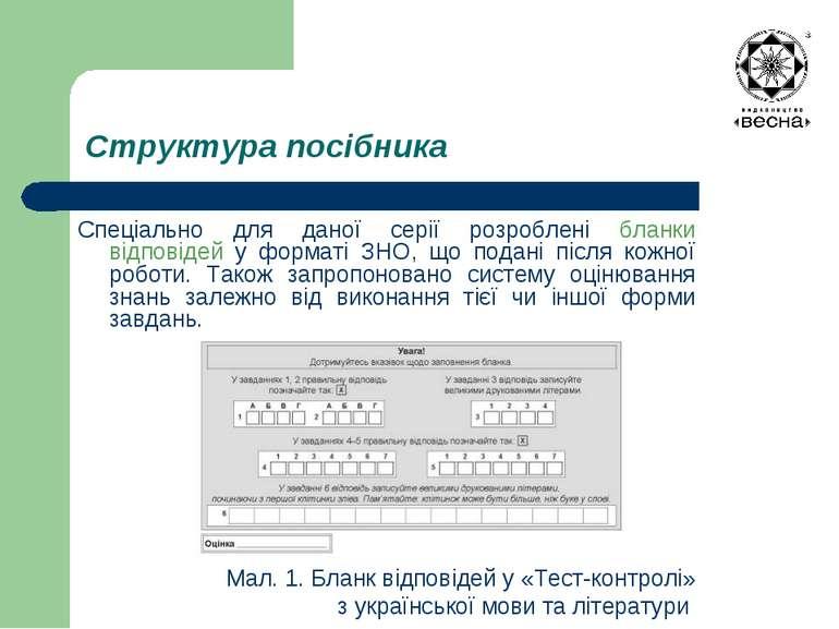 Структура посібника Спеціально для даної серії розроблені бланки відповідей у...