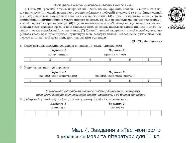 Структура посібника Мал. 4. Завдання в «Тест-контролі» з української мови та ...
