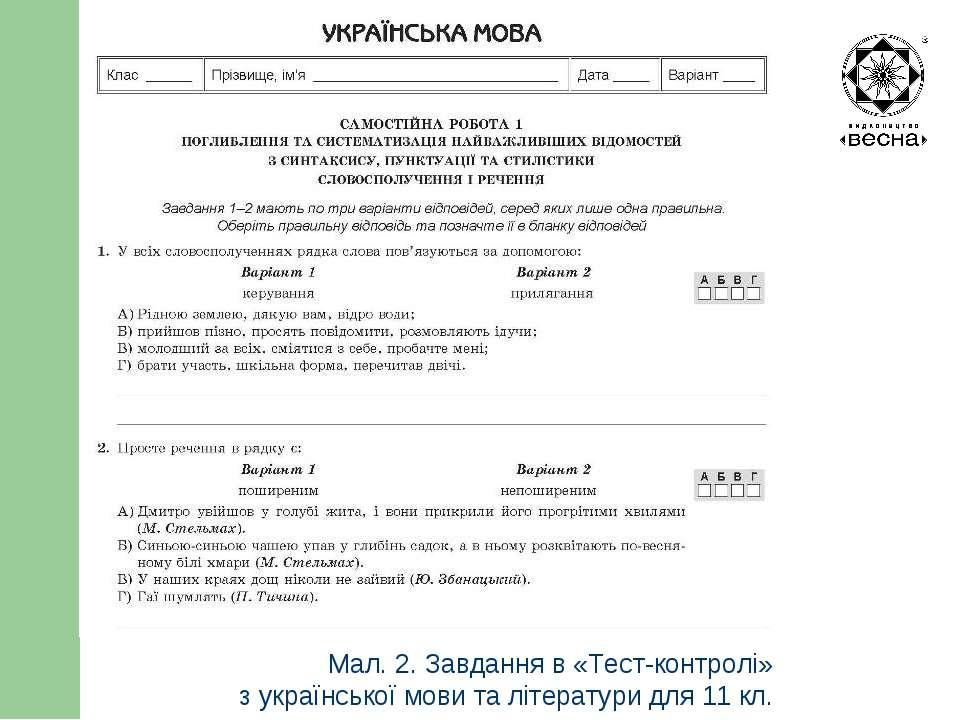 Структура посібника Мал. 2. Завдання в «Тест-контролі» з української мови та ...