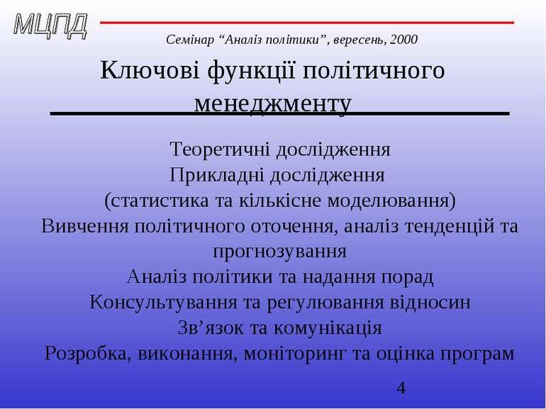 Ключові функції політичного менеджменту Теоретичні дослідження Прикладні досл...