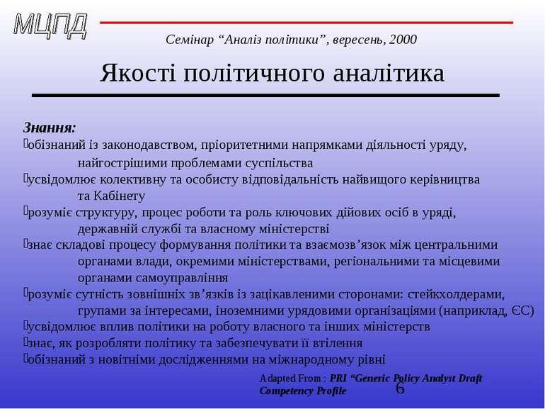 Якості політичного аналітика Знання: обізнаний із законодавством, пріоритетни...