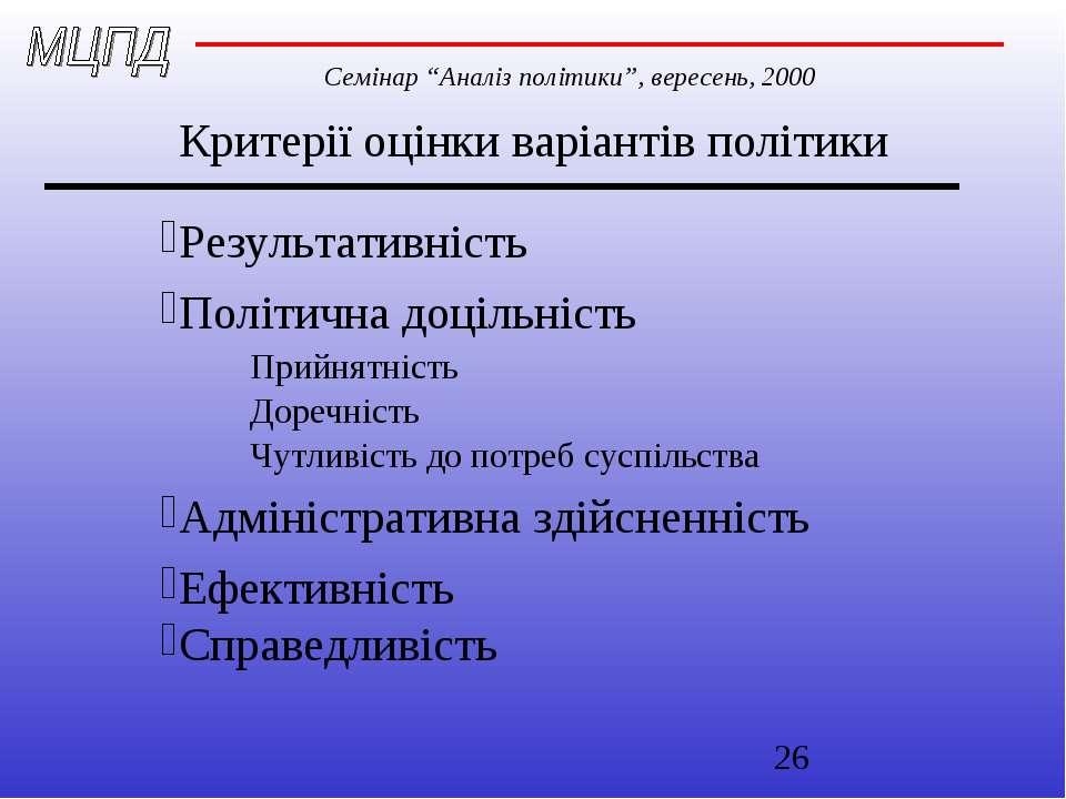 Критерії оцінки варіантів політики Результативність Політична доцільність При...