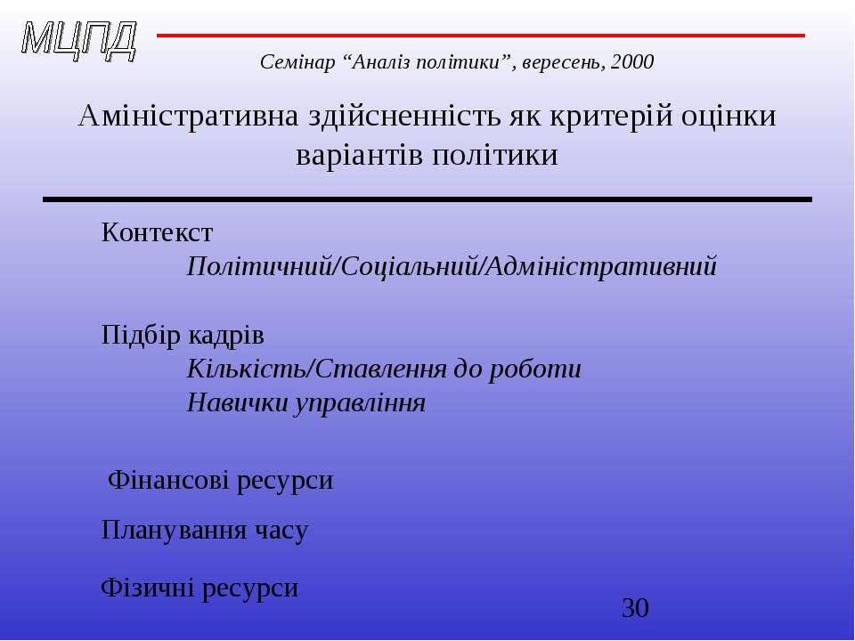 Аміністративна здійсненність як критерій оцінки варіантів політики Контекст П...