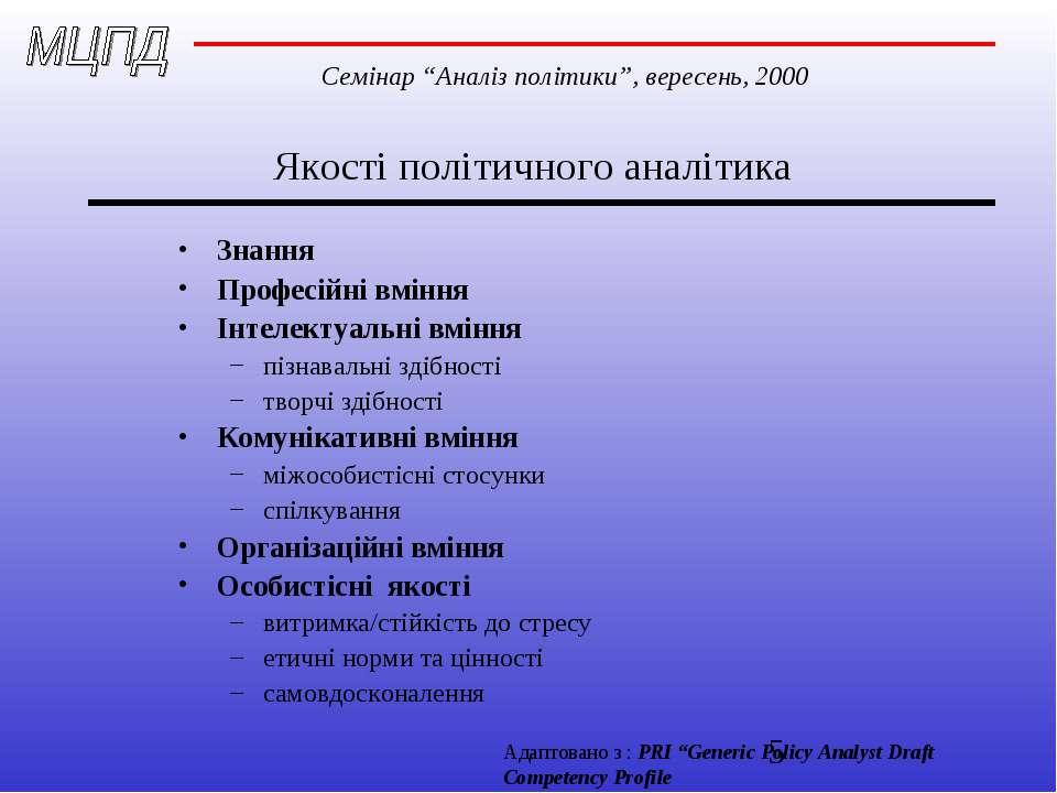 Якості політичного аналітика Знання Професійні вміння Інтелектуальні вміння п...