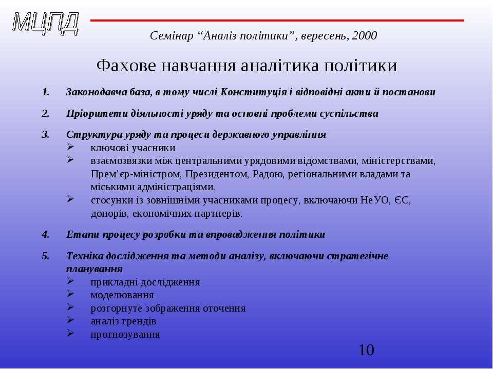 Фахове навчання аналітика політики Законодавча база, в тому числі Конституція...