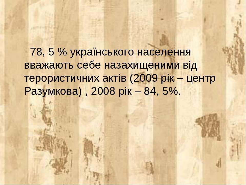 78, 5 % українського населення вважають себе назахищеними від терористичних а...