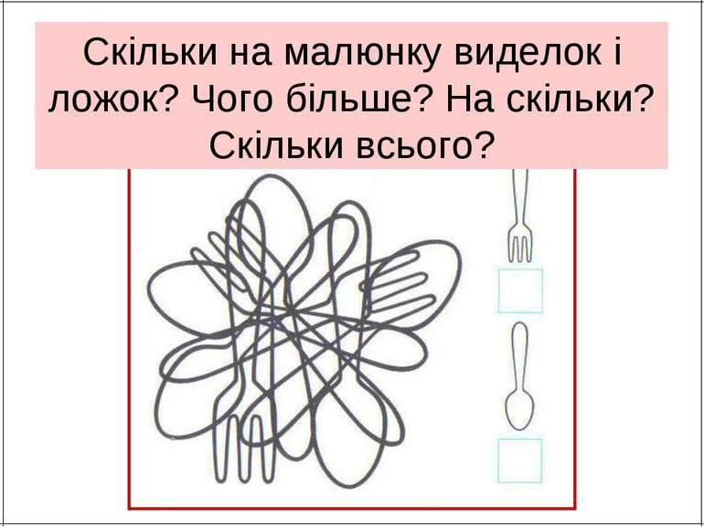 Скільки на малюнку виделок і ложок? Чого більше? На скільки? Скільки всього?