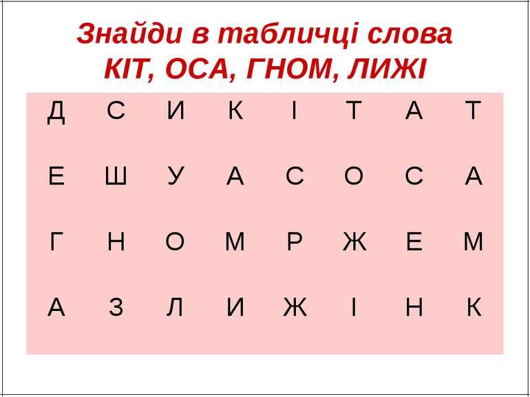 Знайди в табличці слова КІТ, ОСА, ГНОМ, ЛИЖІ