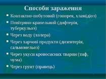 Способи зараження Контактно-побутовий (гонорея, хламідіоз) Повітряно-крапельн...
