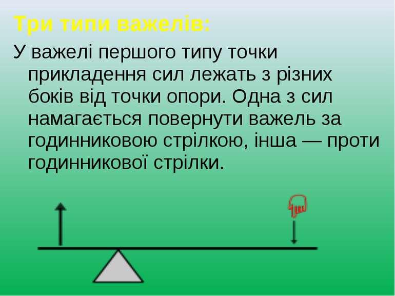 Три типи важелів: У важелі першого типу точки прикладення сил лежать з різних...