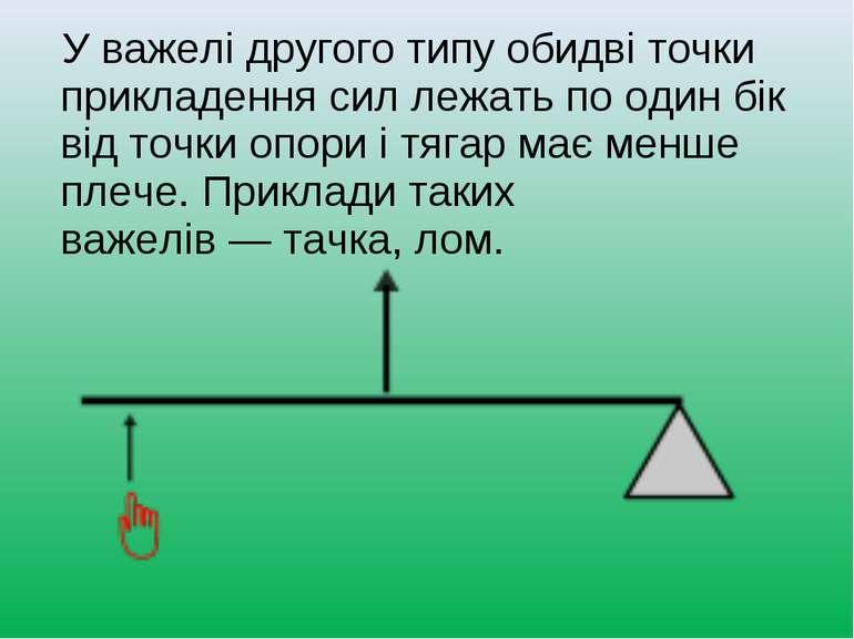 У важелі другого типу обидві точки прикладення сил лежать по один бік від точ...