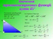Розглянемо рівнобедрений прямокутний трикутник АВС: АС = ВС < А=45°,