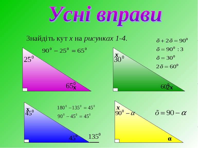 Знайдіть кут х на рисунках 1-4. х х 2х х α х