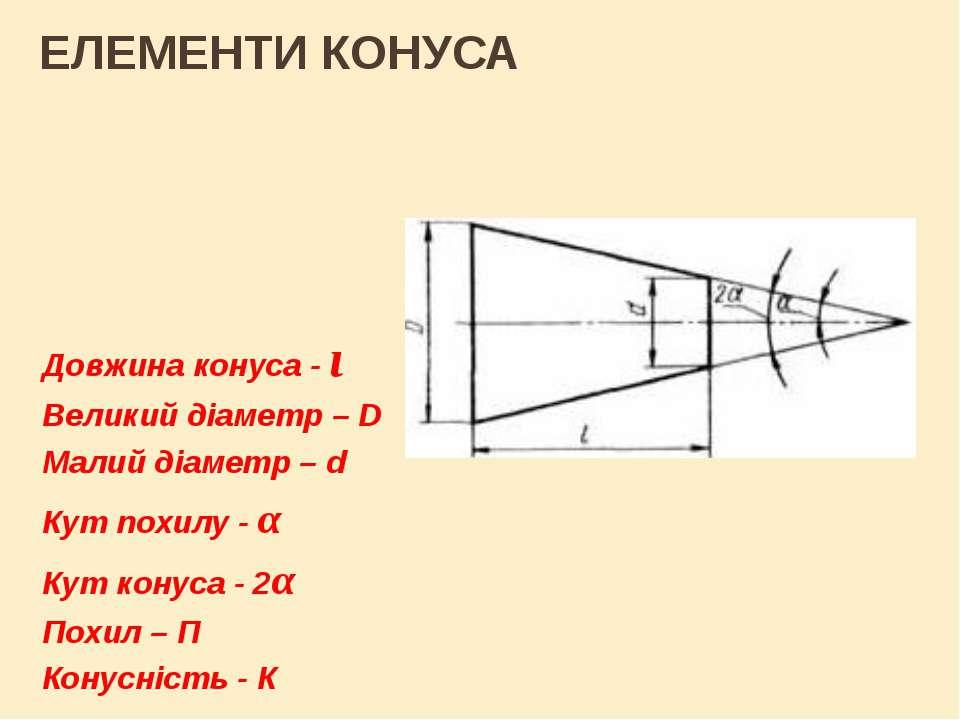 ЕЛЕМЕНТИ КОНУСА Довжина конуса - ι Великий діаметр – D Малий діаметр – d Кут ...