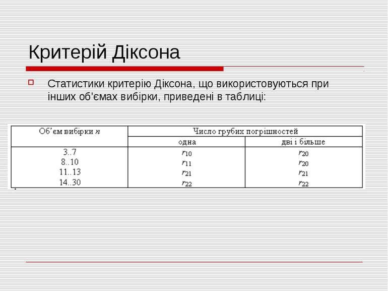 Критерій Діксона Статистики критерію Діксона, що використовуються при інших о...