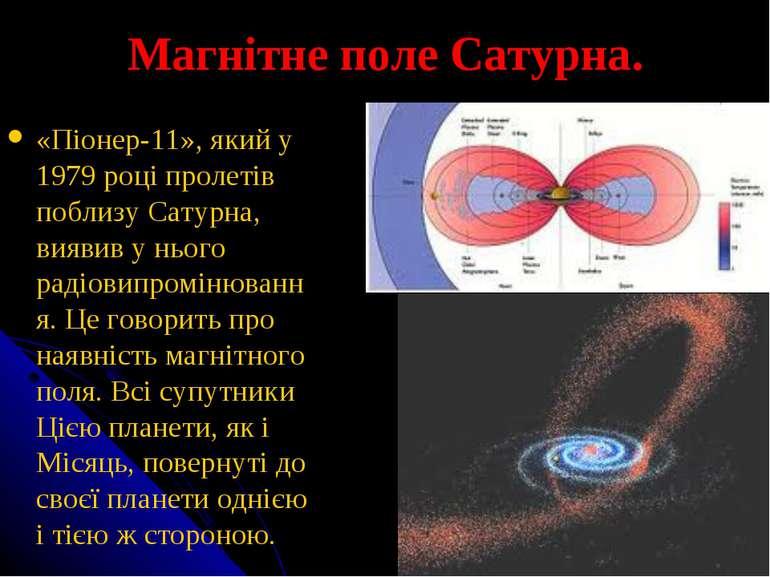 Магнітне поле Сатурна. «Піонер-11», який у 1979 році пролетів поблизу Сатурна...