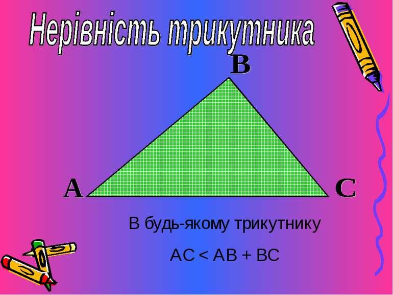 В будь-якому трикутнику АС < АВ + ВС
