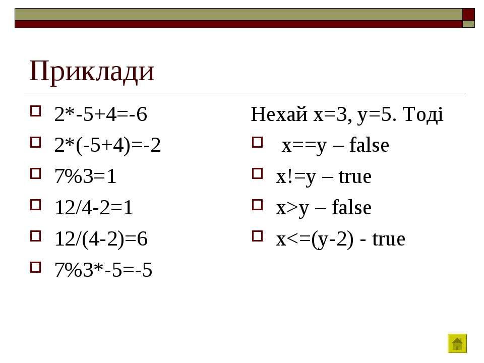 Приклади 2*-5+4=-6 2*(-5+4)=-2 7%3=1 12/4-2=1 12/(4-2)=6 7%3*-5=-5 Нехай x=3,...