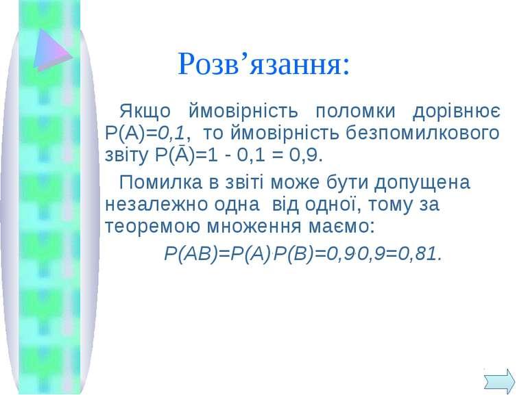 Розв'язання: Якщо ймовірність поломки дорівнює Р(А)=0,1, то ймовірність безпо...
