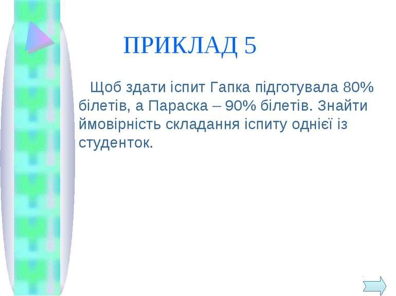 ПРИКЛАД 5 Щоб здати іспит Гапка підготувала 80% білетів, а Параска – 90% біле...