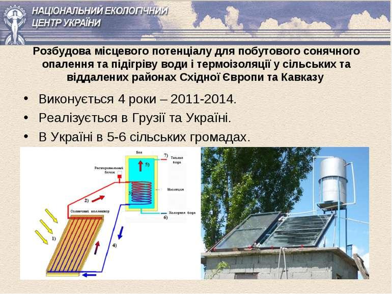 Розбудова місцевого потенціалу для побутового сонячного опалення та підігріву...