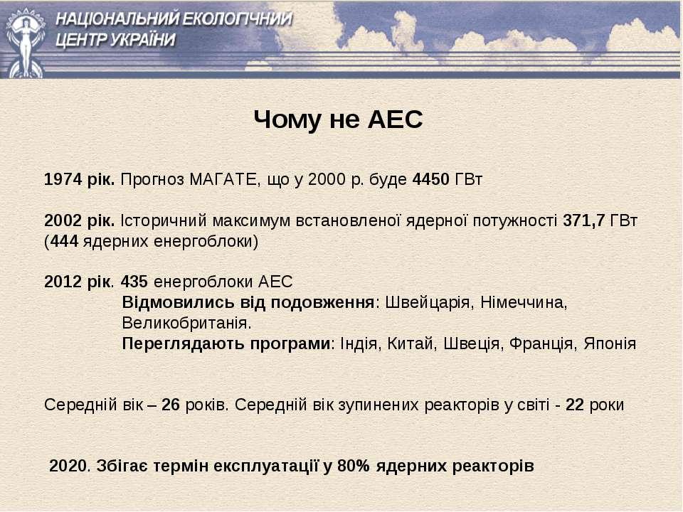 Чому не АЕС 1974 рік. Прогноз МАГАТЕ, що у 2000 р. буде 4450 ГВт 2002 рік. Іс...