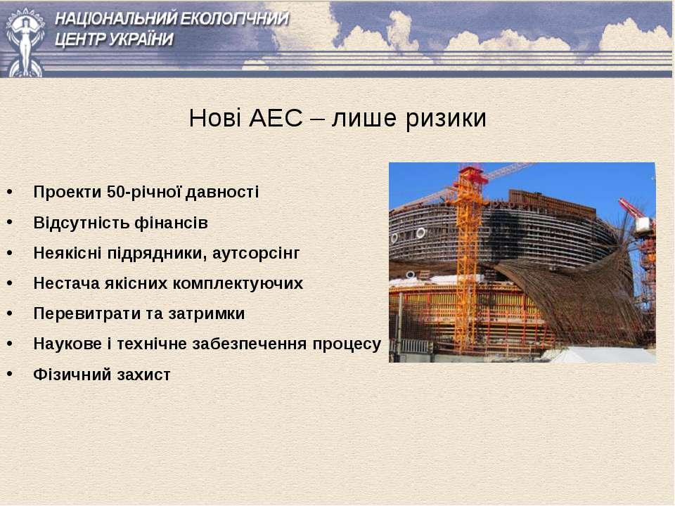 Нові АЕС – лише ризики Проекти 50-річної давності Відсутність фінансів Неякіс...