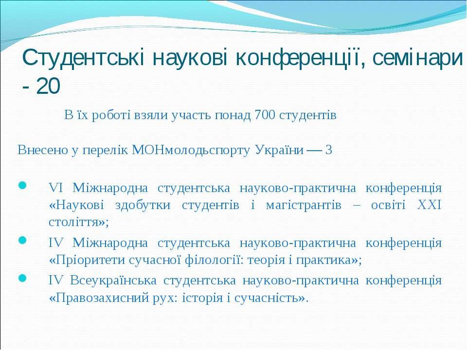 Студентські наукові конференції, семінари - 20 В їх роботі взяли участь понад...