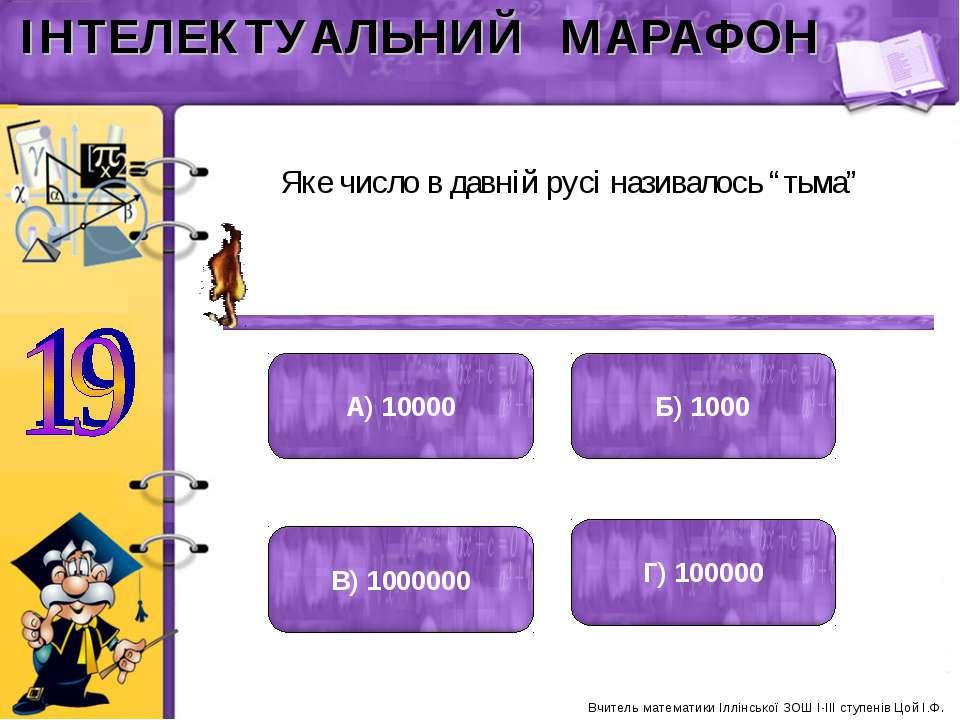 "Яке число в давній русі називалось ""тьма"" А) 10000 Б) 1000 В) 1000000 Г) 1000..."
