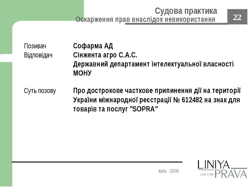 Судова практика Оскарження прав внаслідок невикористання Київ - 2009 Позивач ...