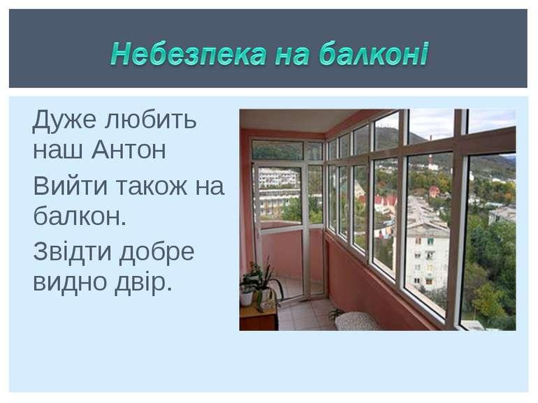 Дуже любить наш Антон Вийти також на балкон. Звідти добре видно двір.