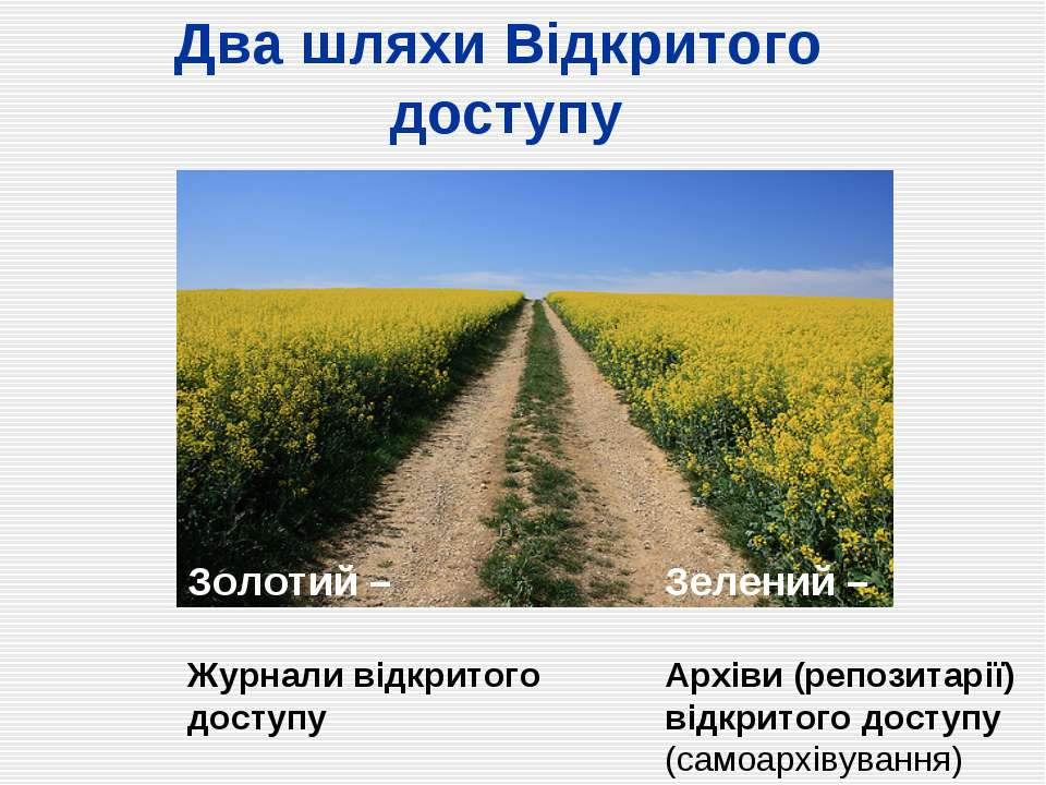 Два шляхи Відкритого доступу Золотий – Журнали відкритого доступу Зелений – А...