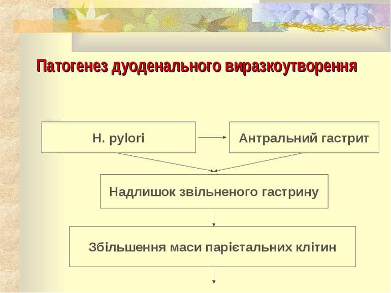 Патогенез дуоденального виразкоутворення H. pylori Антральний гастрит Надлишо...