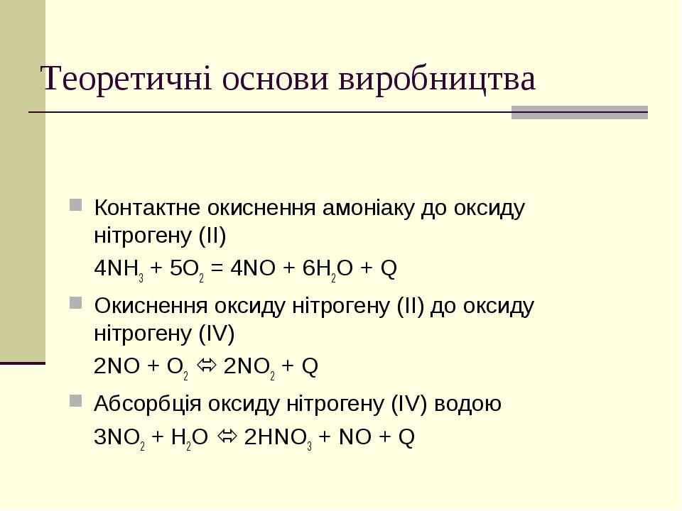 Теоретичні основи виробництва Контактне окиснення амоніаку до оксиду нітроген...