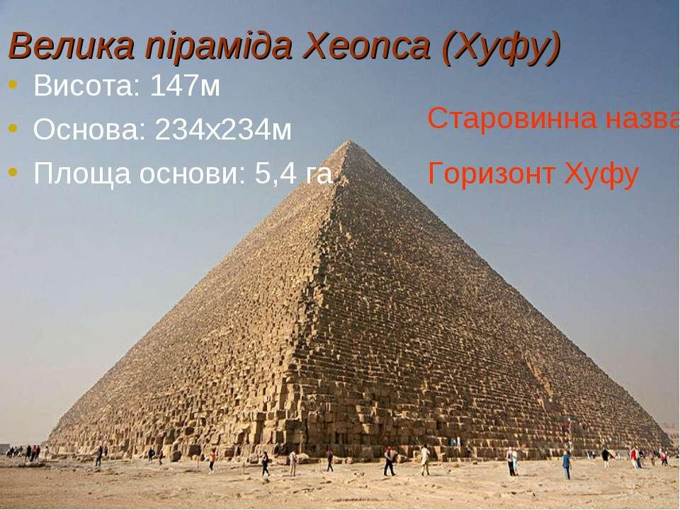 Велика піраміда Хеопса (Хуфу) Висота: 147м Основа: 234х234м Площа основи: 5,4...