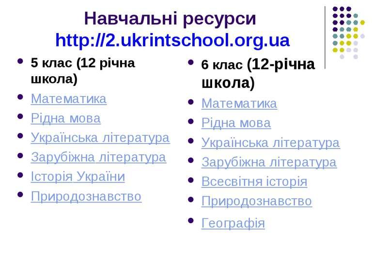 Навчальні ресурси http://2.ukrintschool.org.ua 5 клас (12 річна школа) Матема...