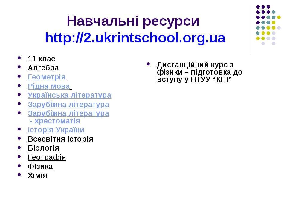 Навчальні ресурси http://2.ukrintschool.org.ua 11 клас Алгебра Геометрія Рідн...