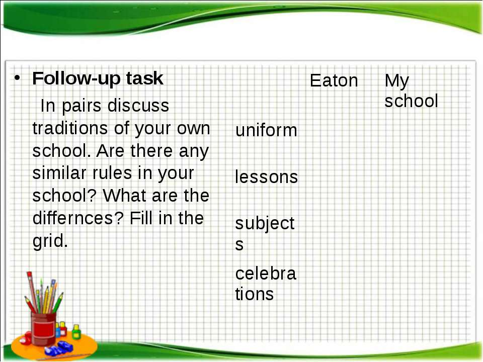 Follow-up task In pairs discuss traditions of your own school. Are there any ...