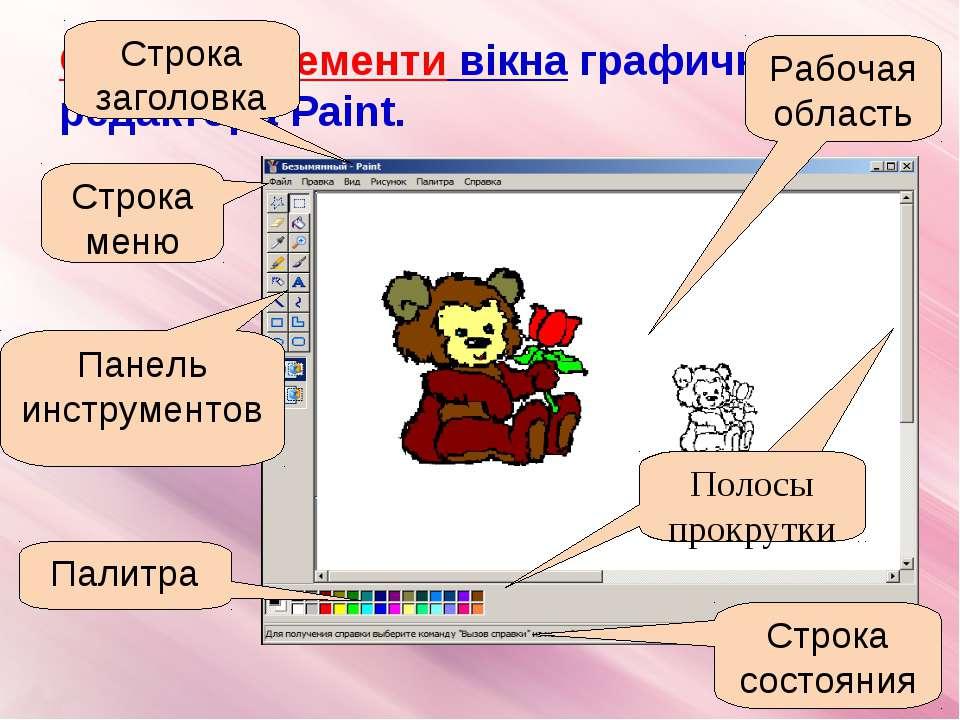 Основні елементи вікна графичного редактора Paint. Рабочая область Строка сос...