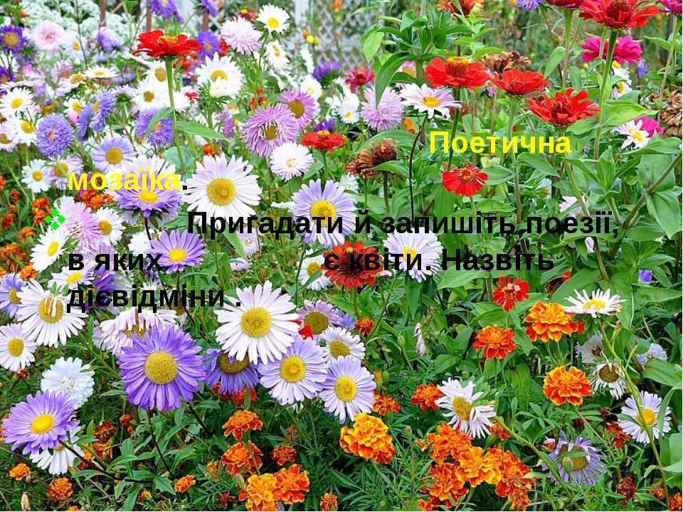 Поетична мозаїка. Пригадати й запишіть поезії, в яких є квіти. Назвіть дієвід...