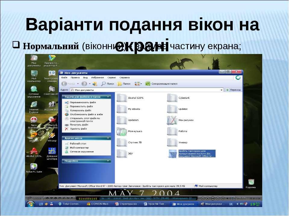 Варіанти подання вікон на екрані Нормальний (віконний) - займає частину екрана;
