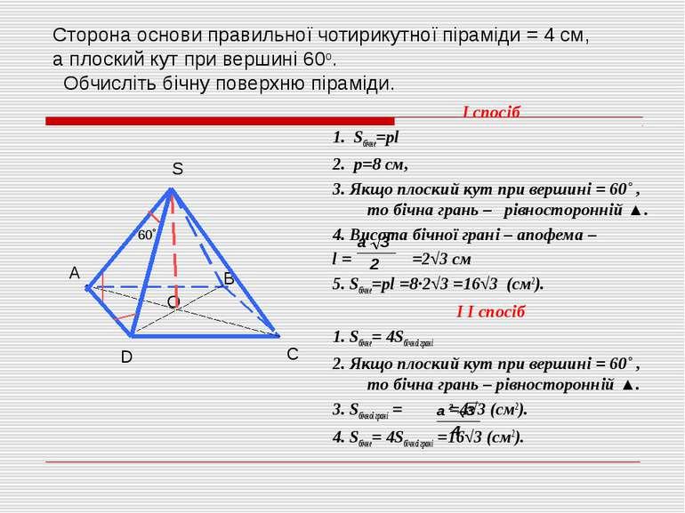 Сторона основи правильної чотирикутної піраміди = 4 см, а плоский кут при вер...