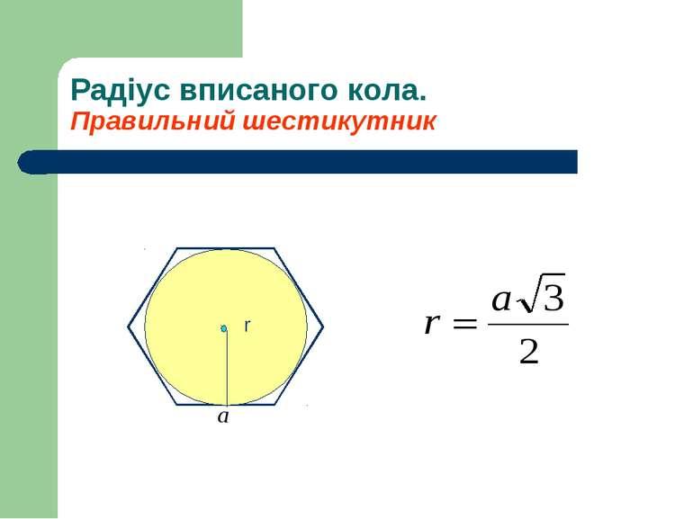 Радіус вписаного кола. Правильний шестикутник