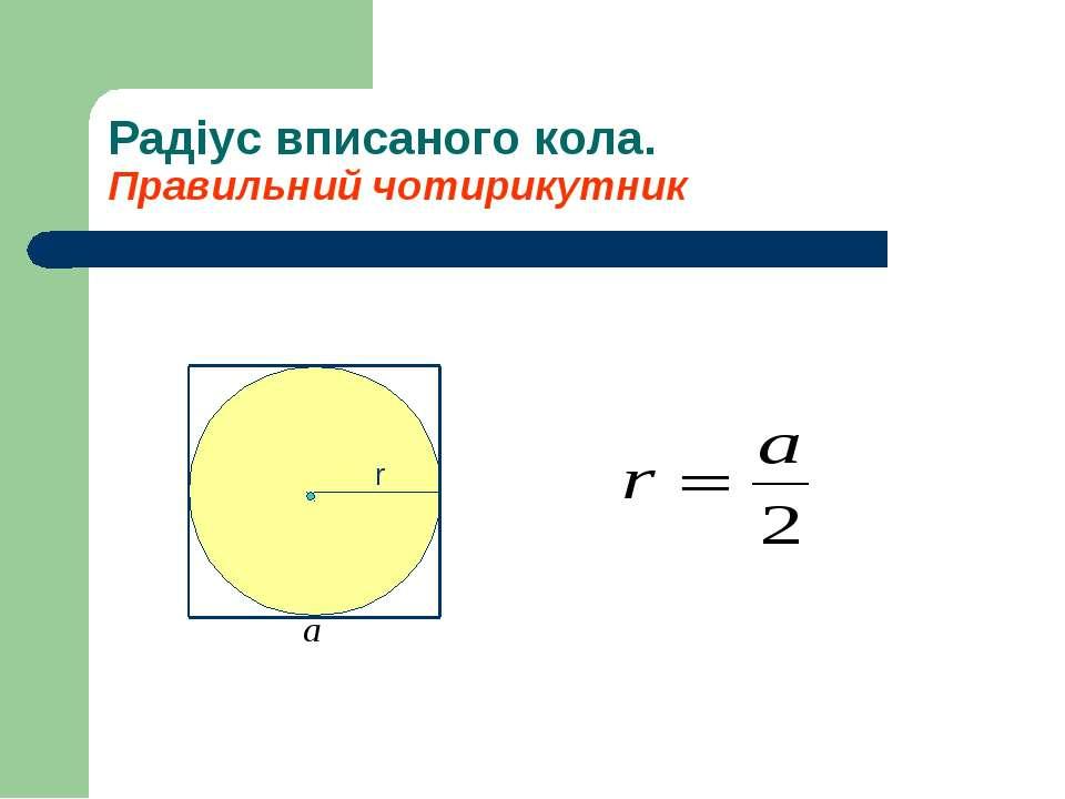 Радіус вписаного кола. Правильний чотирикутник