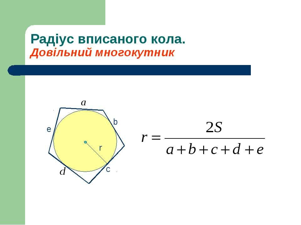 Радіус вписаного кола. Довільний многокутник