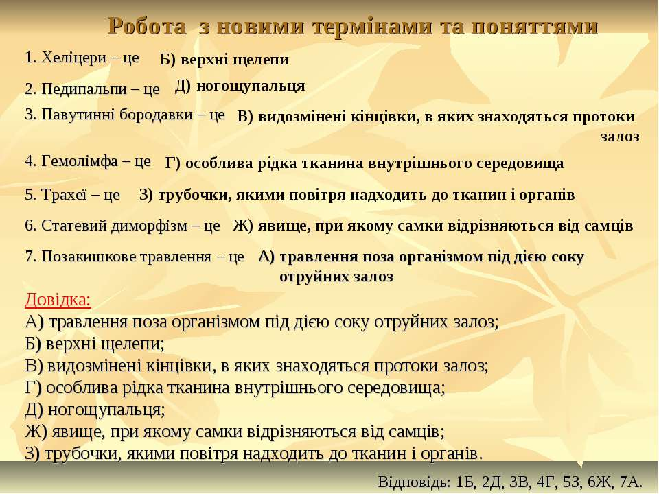 Робота з новими термінами та поняттями Довідка: А) травлення поза організмом ...