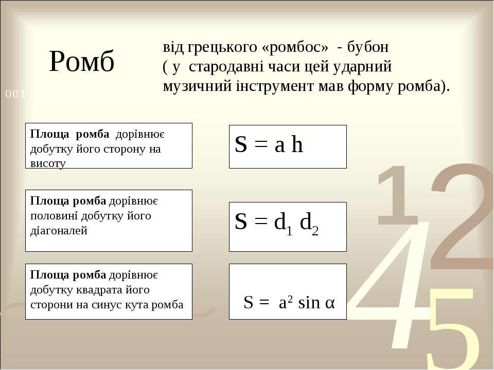 Ромб від грецького «ромбос» - бубон ( у стародавні часи цей ударний музичний ...
