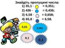 35,1 · = 0,351; 436 · = 0,436; 3) 6,58 · = 0,658; 4) 65,8 · = 6,58. Знайдіть ...