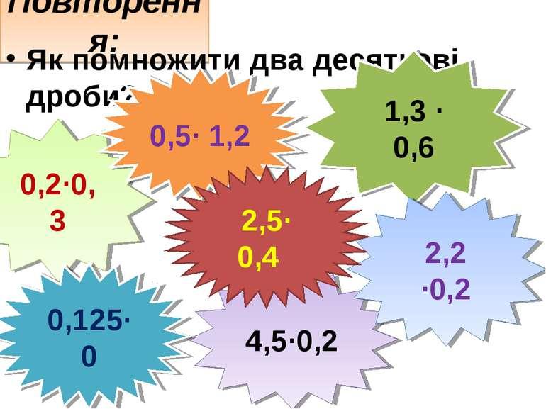 Повторення: Як помножити два десяткові дроби? 0,2·0,3 1,3 · 0,6 4,5·0,2 0,5· ...
