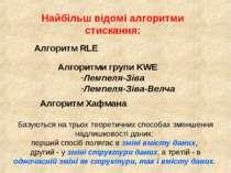 Найбільш відомі алгоритми стискання: Алгоритм RLE Алгоритми групи KWE Лемпеля...